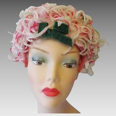 Pink Floral Church Hat Vintage 1960s Womens