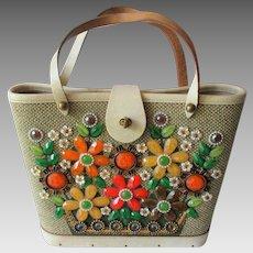 Enid Collins Bucket Bag Purse Vintage 1960s Jeweled Flower Basket EC Stamp