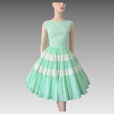 Swing Skirt Blouse Set Vintage 1950s Rockabilly Swing Mint Green White