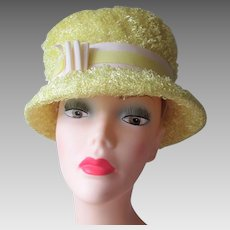 Yellow Lampshade Hat Vintage 1970s Terry Cloth Bucket Womens