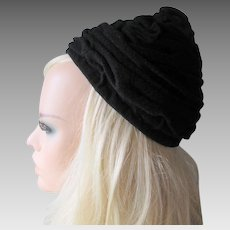 Black Wool Beehive Hat Vintage 1970s Womens Accessory