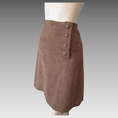 Brown Suede Leather Skirt Vintage 1970s Covered Buttons A Line