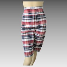 Plaid Pedal Pushers Vintage 1950s Cropped Pants Shorts Jeanie
