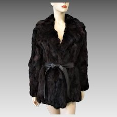 Womens Rabbit Fur Coat Vintage 1980s Black Brown Leather Belt