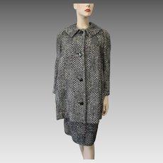 Pendleton Herringbone Suit Vintage 1970s Womens Coat Jacket Skirt Black White