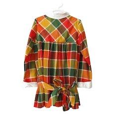 Girls Plaid Dress Vintage 1970s Fall Colors Drop Waist Pleated Belt