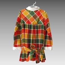 Girls Plaid Dress Vintage 1970s Fall Colors Drop Waist Pleated Belt