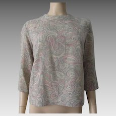 Wool Paisley Blouse Vintage 1950s Pullover Sweater Pink Grey