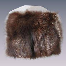 Marmot Fur Purse Muff Vintage 1950s Clear Reverse Carved Lucite Handle Handbag