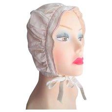 Girls Bonnet Antique White Cotton Red Trim Ties