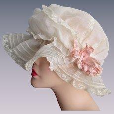 Antique Breakfast Sleep Cap Hat Womens White Organdy Pintucking Lace Ruffles