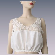 Antique Camisole Corset Cover Womens White Cotton Peacock Feather Crocheted Lace