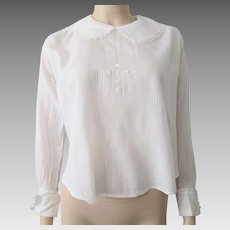 Antique Edwardian White Blouse Striped Lace Crescent Moons Stars