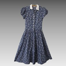 Girls Shirt Dress Vintage 1930s Blue White Floral Fit and Flare