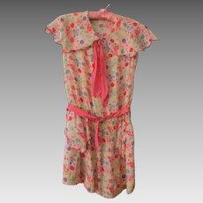 Girls Silk Flapper Dress Vintage 1920s Drop Waist Ruched Pink Print Satin Belt