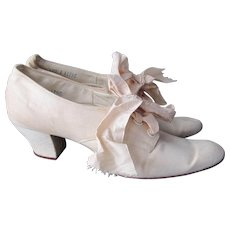 Rare Edwardian Shoes Beige Linen Kidskin Womens Heels Pumps