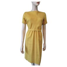 Linen Wiggle Dress Mustard Yellow Vintage 1950s