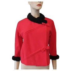 Hold For Loreen: Italian Banff Wool Short Jacket Vintage 1950s Cherry Red Knit Black Faux Sheepskin Trim Bows