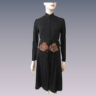 Black Anthony Muto Marita Dress Vintage 1970s Pheasant Feather Belt