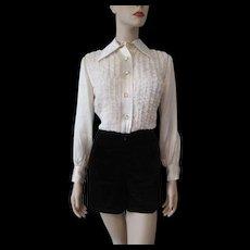 Tuxedo Shirt Hot Pants Vintage 1970s Disco Romper Black White Lace Retro Pointed Collar
