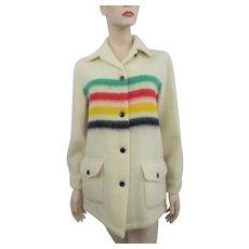 Hudson Bay Coat Vintage 1960s Four Stripe Rainbow Shaggy Wool Indian Native American Blanket Jacket