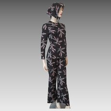 Womens Lounge Wear Shirt Pants Scarf Set Suit Vintage 1970s Stretchy Nylon Polyester Black Berries Print