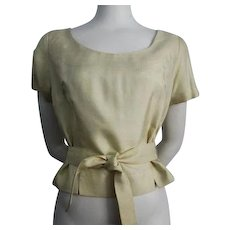 Yellow Silk Blouse Top Belt Vintage 1950s Womens Shirt - Red Tag Sale Item
