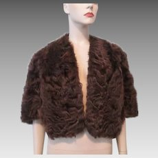 Faux Fur Stole Vintage 1940s Capelet Cape Bruns Furs Brown Sheared Beaver Peruvian Karakul Lamb