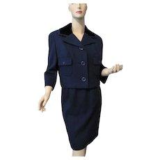 Navy Wool Blue Womens Suit Vintage 1950s Jacket Pencil Skirt Black Velvet New York Label