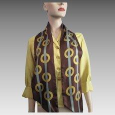 Italian Silk Scarf Vintage 1970s Brown Geometric Circles Stripes