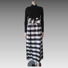 Special Occasion Maxi Dress Vintage 1960s Black Plaid Taffeta Rhinestones Evening Party
