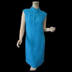 Mod Turquoise Linen Day Dress Vintage 1970s Sleeveless Forecast With Pockets