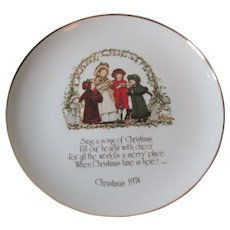 Holly Hobbie Christmas Plate Vintage 1970s Carolers Motto Porcelain Commemorative Edition