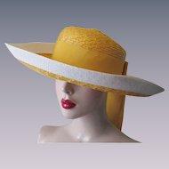 Yves Saint Laurent Sun Hat Vintage 1960s Yellow White Straw Wide Brim