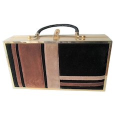 Mod Box Purse Vintage 1960s Gold Plated Velvet Lou Taylor Miami - Red Tag Sale Item