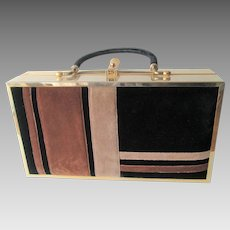 Mod Box Purse Vintage 1960s Gold Plated Velvet Lou Taylor Miami