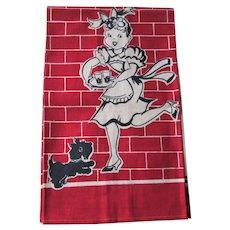 Kitsch Kitchen Linen Tea Towel Vintage 1950s Waitress Scottie Scotty Dog Never Used