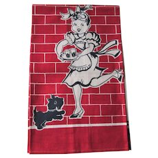 Kitsch Kitchen Linen Tea Towel Vintage 1950s Waitress Scottie Scotty Dog Never Used
