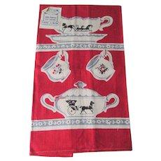 Deadstock Linen Tea Towel Vintage 1950s Kitsch Kitchen Teacup Creamer Sugar