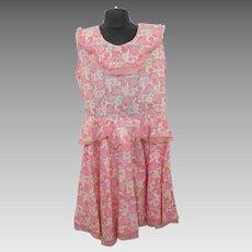 Girls Floral Feedsack Dress Vintage 1940s Handmade Pink Flowers Easter Peplum