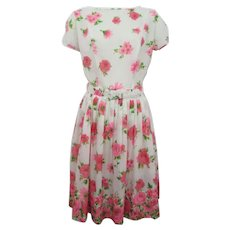 Pink Floral Cotton Day Dress Vintage 1950s Daisy Rose Belt Knife Pleats