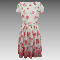 Pink Floral Cotton Day Dress Vintage 1950s Daisy Rose Belt Knife Pleats