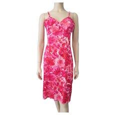 6ea1b9d1f Hollywoode Vassarette Full Slip Vintage 1960s Hot Pink Floral Nylon Lingerie