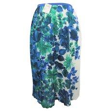 Hollywood Vassarette Floral Half Slip Vintage 1960s Blue Green Flowers Nylon Deadstock NWT