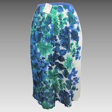 Hollywood Vassarette Floral Half Slip Vintage 1960s Blue Green Flowers Nylon Deadstock NWT