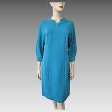 Mod Turquoise Blue Shift Dress Vintage 1960s Jackie O Large