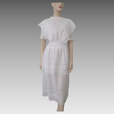 Antique Edwardian Tea Lawn Dress Eyelet Lace Ruffles White Cotton