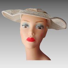 Lace Cartwheel Hat Vintage 1960s Ivory Velvet Bow