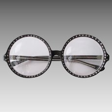 Huge Round French Eyeglasses Glasses Vintage 1970s Black Rhinestone