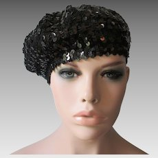 Black Sequinned Beret Tam Hat Vintage 1970s Disco Womens Accessory